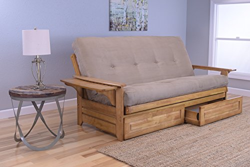 Phoenix Full Size Sofa Futon and Drawer Set, Butternut Wood Frame and Suede Innerspring Mattress, Peat (Phoenix Upholstered Bed)