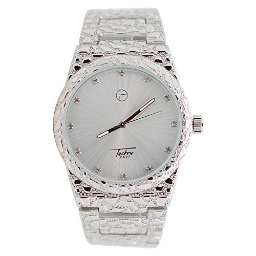 Mens Techno Silver White Gold Plated Iced out Lab Diamond with Silver and Full Diamond Cut Nugget Metal Band Watch - Full Diamond Watch Band