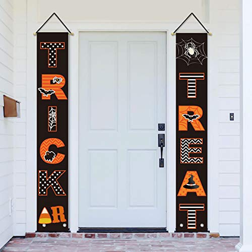 Halloween Web Banners (AVOIN Trick or Treat Porch Sign Bat Spider Web Candy Corn, Halloween Hanging Banner Flag for Yard Indoor Outdoor Party 12 x 72)