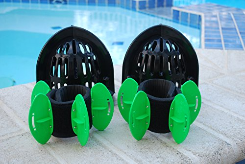 (AquaLogix Total Body Pool Exercise System - Includes Online Demonstration Video with 30 Sample Exercises (All Purpose Black Bells/High Speed Green Fins))