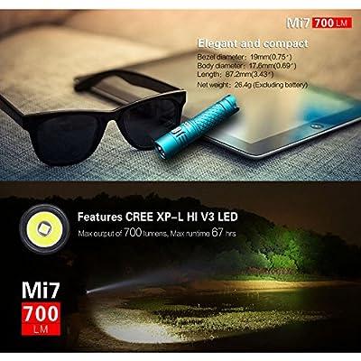 Blue : Klarus Mi7 IPX8 Mini LED Flashlight Torch Power By AA or 14500 Battery CREE XP-L HI V3 Lamp 700 Lumens Lantern Smart Indicator