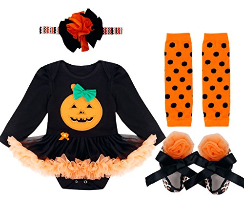 Unitard Costume Patterns (YiZYiF Baby Girl's Halloween Party Costumes Pumpkin Outfit 4Pcs Tutu Dress Up Pumpkin Black #1 9-12 Months)