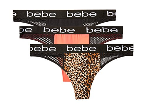 bebe Intimates Womens 3 Pack Sport Thong Panties With Mesh Sides and Wide Waist Leopard, Coral, Black Large