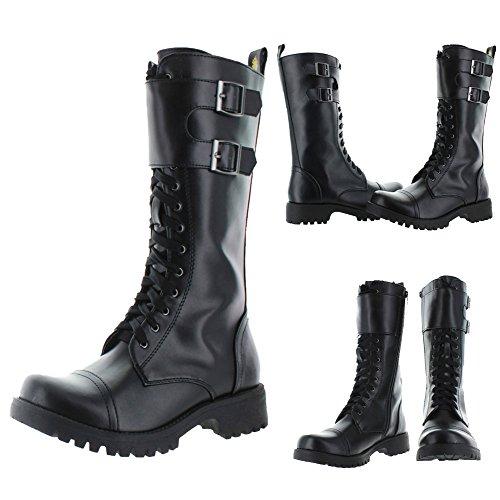 Volatile Tank Women's Faux Leather Lace-up Buckle Combat Boots Shoes