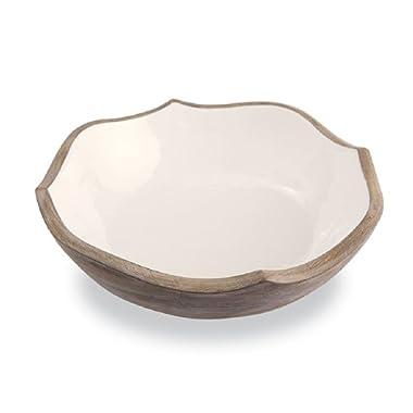 Mud Pie 4604042 Wood and Enamel Quatrefoil Serving Bowls, One Size, Brown, White