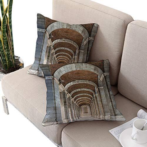 Apartment Decor Collection Square funny pillowcase ,Royal Palace Corridor Madrid Spain Historic Famous European Landmark Facade Picture Print Grey Cushion Cases Pillowcases for Sofa Bedroom Car
