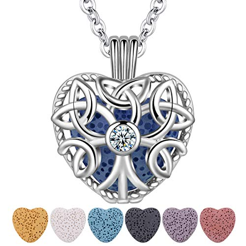 Essential Oil Lava Stone Diffuser Necklace, CELESTIA Tree of Life Heart Aromatherapy Locket Pendant with 7 Reusable Coloured Lava Stones - 24