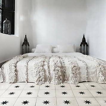 couvre lit arabe Handira, couverture mariage berbère, Maroc Tapis Vintage, Style  couvre lit arabe