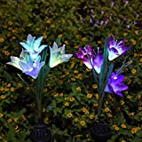 Solar Outdoor Stake Lily Light Multi-Color Changing Waterproof Decorative LED Solar Powered Stake Lights with 8 Lily Flowers for Garden, Home, Patio, Lawn, Backyard (2 Pack Purple& White)