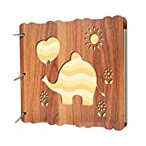 SCOFEEL GIFT Diy Photo Album Wood cover Full Cute Animal Anniversary Scrapbook Black Pages