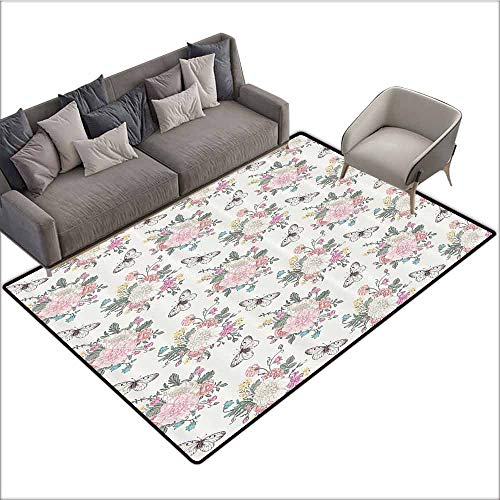 - Floor Mat Kitchen Long Carpet Shabby Chic,Peonies Sweet Peas Roses Bouquet and Butterflies Pastel Tones Bridal Theme,Soft Pink Green 60