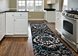 Rugshop Modern Large Floral Pattern Area Rug Runner, 2′ x 7'2″, Gray Review