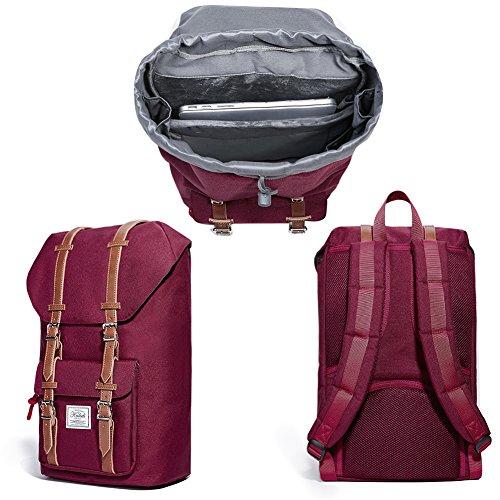 KALIDI 17 Zoll Laptop Rucksack Backpack Schulrucksack für bis zu 15.6 zoll Laptop Notebook Computer Arbeit Campus Studenten Outdoor Reisen Wandern mit Großer Kapazität Weinrot