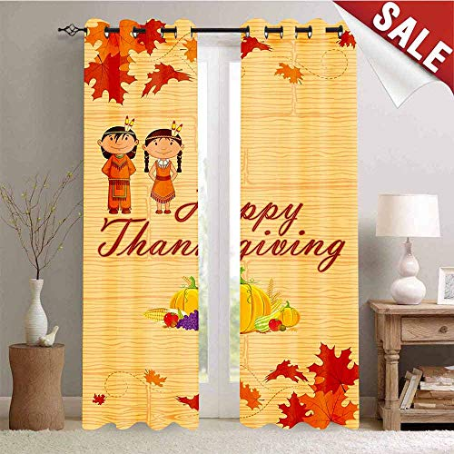 Thermal Insulating Blackout Curtain Children in Native American Costume Preserving Indigenous Heritage Blackout Draperies for Bedroom W108 x L96 Inch Orange Multicolor