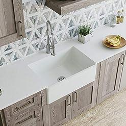Farmhouse Kitchen MR Direct 415 Fireclay Single Bowl Farmhouse Kitchen Sink, White farmhouse kitchen sinks
