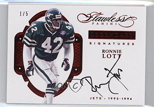 - Ronnie Lott #3/5 (Football Card) 2016 Panini Flawless - Legendary Signatures - Ruby #LSRL