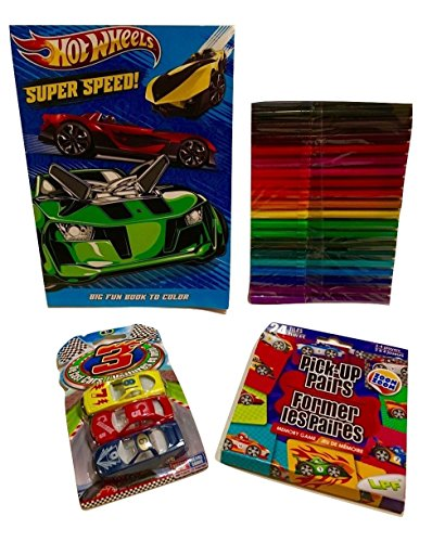 Arts and Crafts, Games For Kid's; Fun With Race Cars; Hot Wheels Big Fun Book To Color, Race Car Pick-up Pairs Card Game, Die Cast Cars (3-pack), Colored Markers; 4-pc