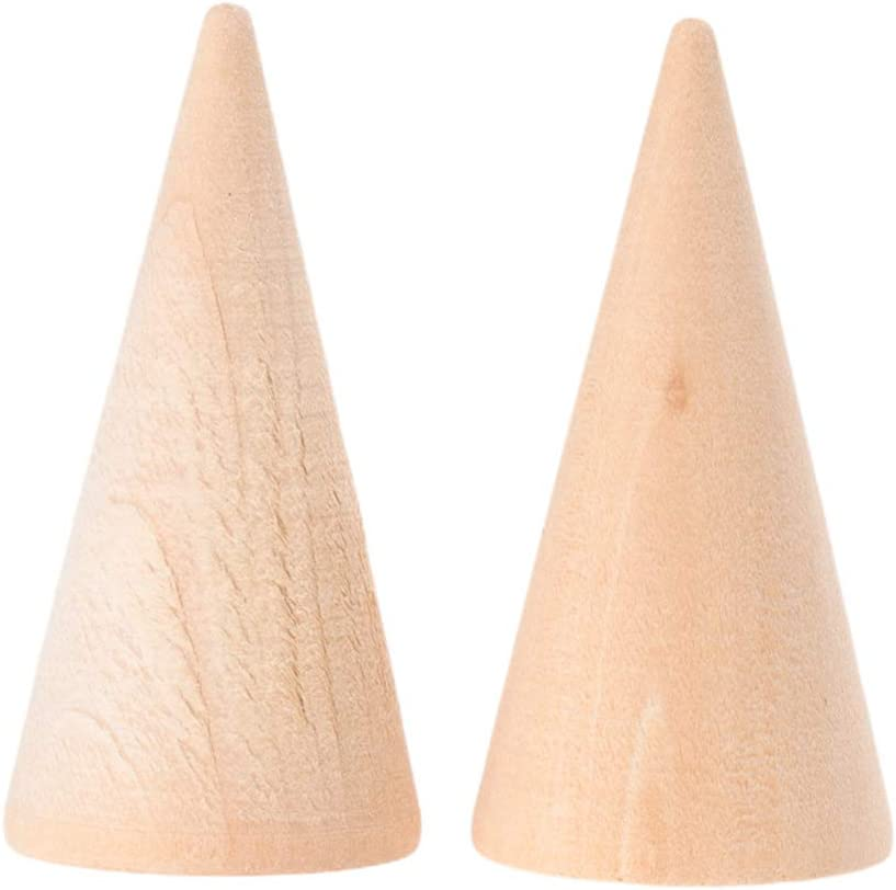 EXCEART 10pcs Natural Wood Cone Ring Holders Unpainted Cone Wood Jewelry Display DIY Craft Wooden Cone for DIY Projects Kids Arts Crafts Toy