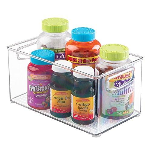 mDesign Bathroom Vitamin Storage Organizer Bin with Built-In Handles for Vitamins, Supplements, Serums, Essential Oils, Medical Supplies, First Aid Supplies - Clear