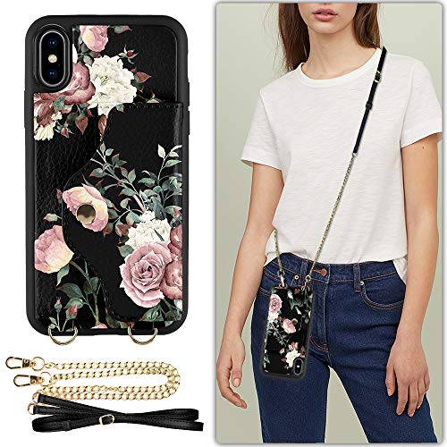 iPhone Xs Case with Credit Card Holder, iPhone X Wallet Case, LAMEEKU Rose Floral Print Leather Case, Shockproof Phone Purse with Crossbody Chain Strap & Wrist Strap for iPhone X/iPhone - Print Floral Leather