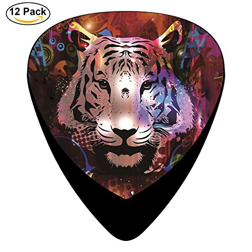 Tiger face Celluloid Guitar Picks 12 Pack Includes Thin,Medium,Heavy Gauges For Electric Acoustic Guitar