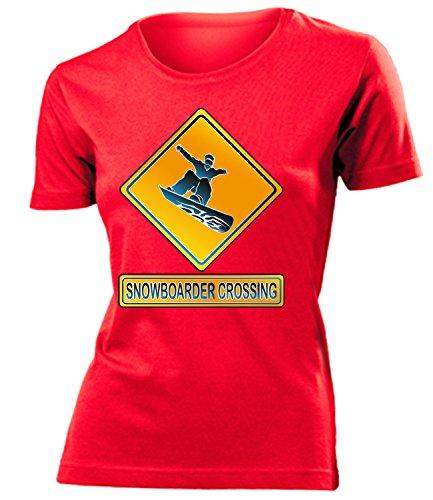SNOWBOADER CROSSING mujer camiseta Tamaño S to XXL varios colores Rojo / Blanco