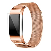 ABC Luxury Milanese Stainless Steel Watch Band Bracelet Strap + HD Film for Fitbit Charge 2 (Rose Gold)