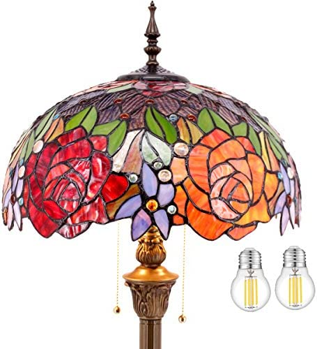 Best modern floor lamp: Tiffany Style Floor Standing Lamp W16H64 Inch Tall LED Bulb Included Stained Glass Red Rose Shade 2E26 Antique Read Lighting S001 WERFACTORY LAMPS Bedroom LivingRoom Bedside Coffee Bookcase Lover Gift