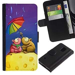 All Phone Most Case / Oferta Especial Cáscara Funda de cuero Monedero Cubierta de proteccion Caso / Wallet Case for Samsung Galaxy S5 V SM-G900 // Cute Love Mouse Couple