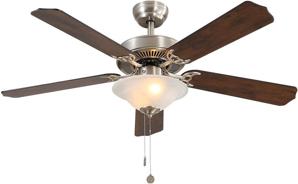 Warmiplanet Ceiling Fan with LED Bulbs, Pull Chains Control, 52-Inch, Vintage Style, Silent Motor (5 Blades)