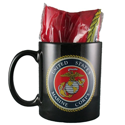 """US Marine Corps Coffee Mug/Cup with 12"""" x 18"""" United States Marines Polyester Flag - Gift Boxed"""