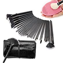 Sunroyal® 32 Pcs Black Rod Makeup Brush Cosmetic set Kit Professional Foundation Brush Set Eye Face Makeup Brushes with Black Synthetic Leather Pouch Case