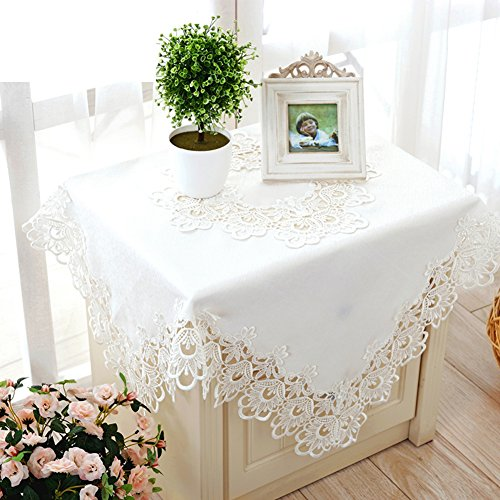 (JFFFFWI Fabric Table Cloth Mat-Style White Embroidered Tablecloth Square Round Pierced lace Table Cloth-A 150x210cm(59x83inch))