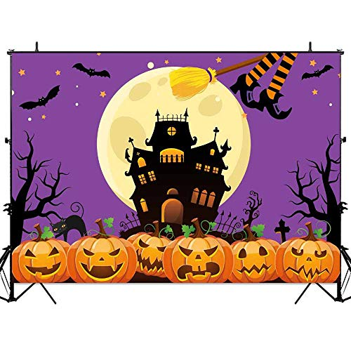 Allenjoy Halloween Nightmare Themed Backdrop Horror Castle Night Full Moon Pumpkins Baby Shower Kids Birthday Party Wall Table Decor 7x5ft Witch Flying Bat Photography Backdground Photo Booth Props ()