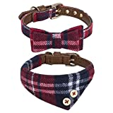 Puppy Collars for Small Dogs - StrawberryEC Adjustable Puppy Id Buckle Collar Leather. Cute Plaid Red Bandana Dog Collar