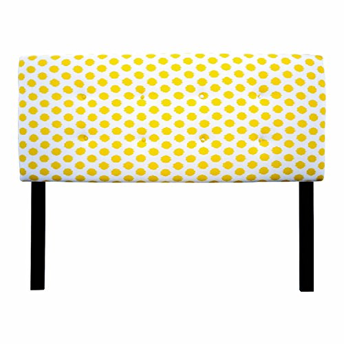Sole Designs Ali Collection Padded Adjustable Eastern King Sized Upholstered Bedroom Headboard with 8 Button Tufting, JoJo Series, Yellow Finish by Sole Designs