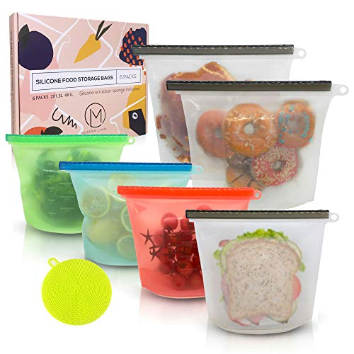 Reusable Silicone Food Storage Bags 6 Pack Airtight BPA Free Snack Bags for Preservation amp Cooking 2 Large amp 4 Medium w/Silicone Scrubber Sponge Baggies for Sous Vide Sandwich Meat Vegetables