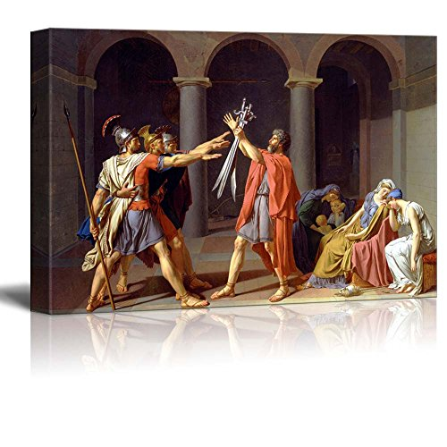 wall26 – Oath of The Horatii by Jacques-Louis David – Canvas Print Wall Art Famous Painting Reproduction – 16 x 24