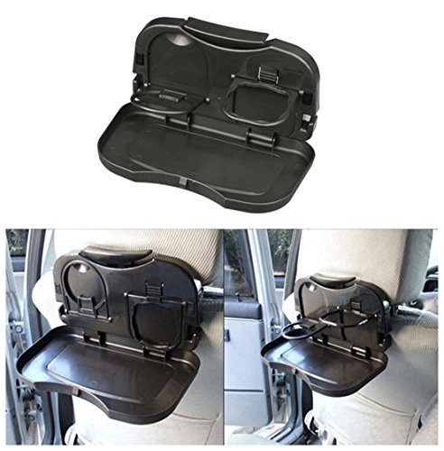 Auto Seat Back Desk Plate , Plastic Foldable Car Seats storage box Holder SUV Multi functional Phone Food Beverage Organizers , Brown: