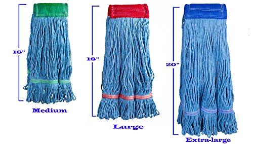 Supply Guru Commercial Mop Head, X-Large, Universal Headband, Blended Yarn, With Nylon Scrubbing Pad, 32 Ounce, 4-Ply, Blue. by Supply Guru (Image #2)