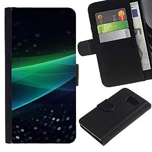 Ihec-Tech / Flip PU Cuero Cover Case para Samsung Galaxy S6 SM-G920 - Abstract Green Wave