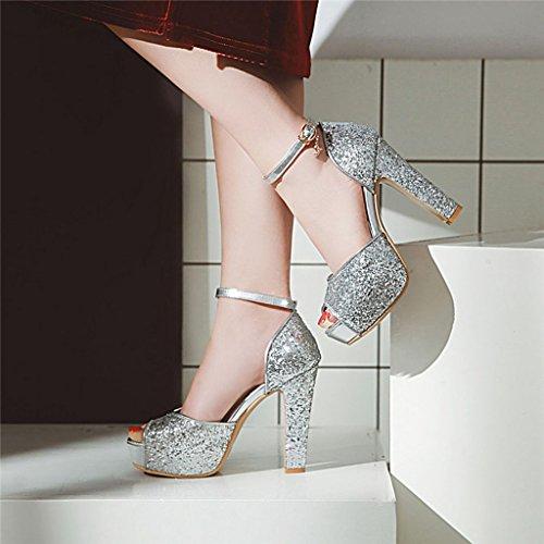 Chaussures Poisson Femme Paillettes Talons Sandales À Hauts Épais Silver Tiges De Bouche Été qXaxZYf