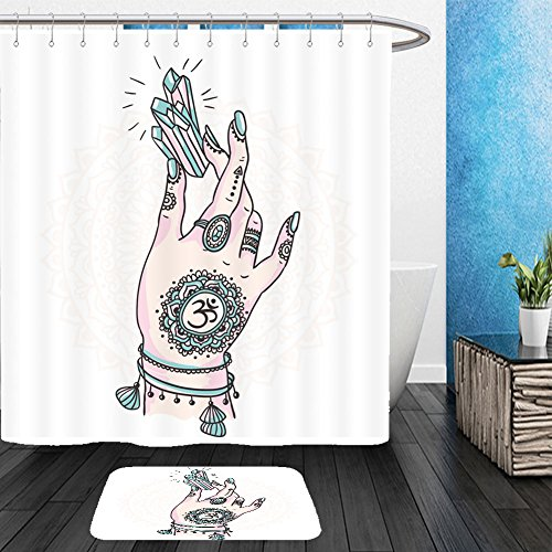 [Vanfan Bathroom 2 Suits 1 Shower Curtains &  1 Floor Mats woman hand is holding magic crystal vector illustration isolated tattoo design mystic magic 535107076 From Bath room] (Dark Crystal Beetle Costumes)
