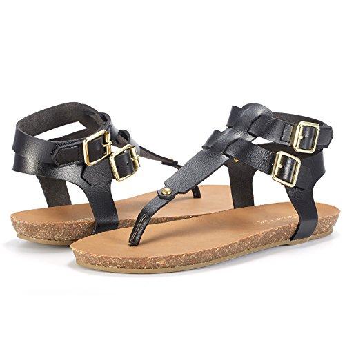 DREAM Back Women's Sandals Fashion Sling BOLD 03 PAIRS Flat BLACK OxSROBw4