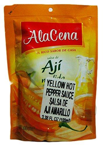 Amazon.com : AlaCena Salsa de Aji Molido Yellow Hot Pepper Sauce 100 ML. : A La Cena : Grocery & Gourmet Food