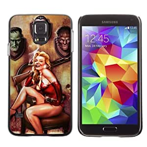 Licase Hard Protective Case Skin Cover for Samsung Galaxy S5 - Cool Vintage Pin Up