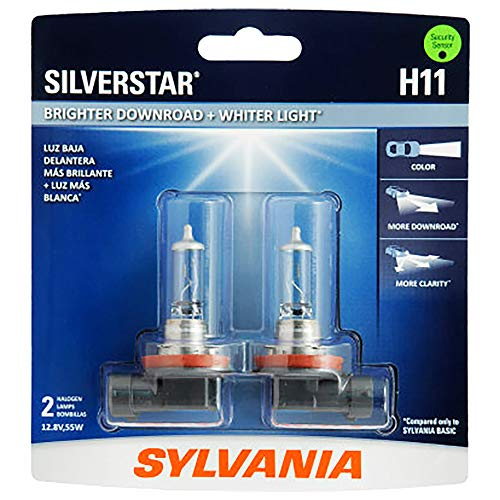 - SYLVANIA - H11 SilverStar - High Performance Halogen Headlight Bulb, High Beam, Low Beam and Fog Replacement Bulb, Brighter Downroad with Whiter Light (Contains 2 Bulbs)