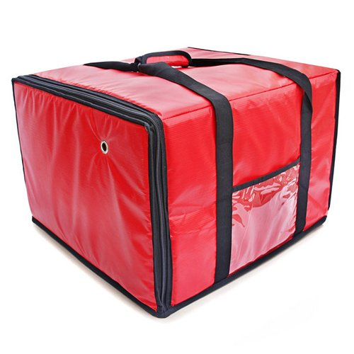 FoodService Essentials IPDB-618R Insulated Pizza Food Delivery Bag, 18-Inch x 18-Inch x 13-Inch, Zipper, Red