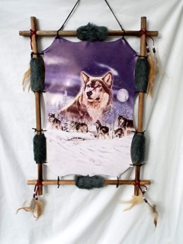 New Grey Wolf Pack in a Snow covered Birch Tree Forest Wood Frame Dream Catcher 22'' x 16'' by Dreamcatcher (Image #1)