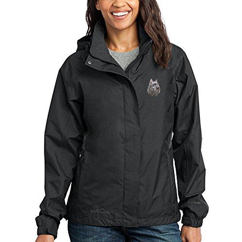 Cherrybrook Dog Breed Embroidered Ladies Rain Jackets - Medium - Black and Steel Gray - Bouvier des Flandres